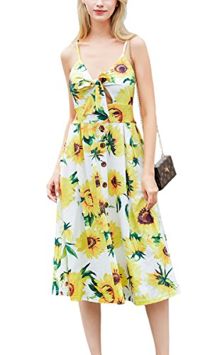 ECOWISH Womens Dresses Summer Tie Front V-Neck Spaghetti Strap Button Down A-Line Backless Swing Midi Dress Sun Flower M (Belted Dress Button Strap)
