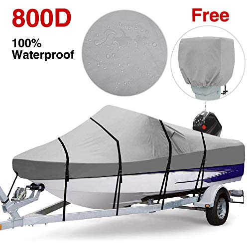 (RVMasking 100% Waterproof 800D Polyester Trailerable Full Size Boat Cover Gray for 20