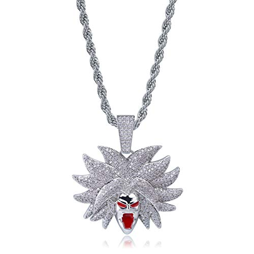 SHINY.U Hip Hop Dragon Ball Cartoon Piccolo Frieza Goku Cell 14K Gold Plated Iced Out Pendant Necklace Chain for Men Kids (Silver Broly)