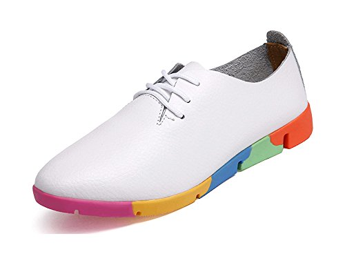 Kunsto Women's Leather Casual Oxford Shoes Lace Up US Size 7.5 White