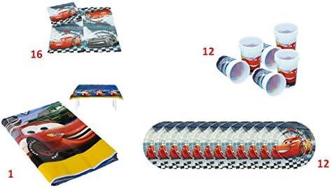 ALMACENESADAN 1074 Pack Fiesta y cumpleaños Disney Cars, Compuesto por 1 Mantel de plástico Fiesta 120x180, 16 servilletas, 12 Platos y 12 Vasos (41 Piezas).: Amazon.es: Juguetes y juegos