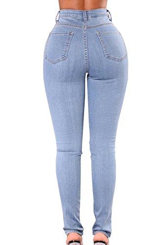 Denim Vider Bandage Femmes Pantalon Jeans Trs Les lastiques En blue Skinny 7U84E