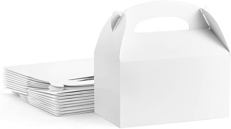 ValBox Treat Boxes 30 Pack White Paper Gable Gift Boxes - Goodies Favor Box for Kids' Birthday Party, Wedding, Baby Shower, 6.2 x 3.5 x 3.5 Inches