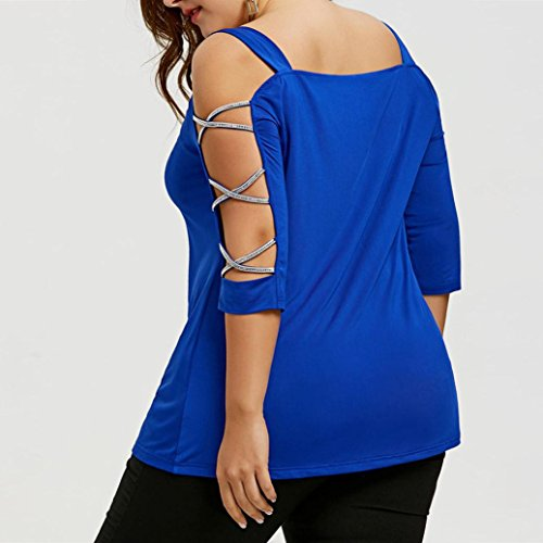 Blu Estate Manica Bandage V Sciolto Corta Tops Fionda T BYSTE Casual Donna Blusa Maglietta Senza Maglia Camicetta Maniche Collo Shirt Camicia nzRxSaC