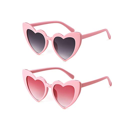 Retro Vintage Clout Goggle Heart Sunglasses Cat Eye Mod Style for Women Kurt Cobain Glasses Plastic Frame Mirrored Lens (2 Pack Pink+Pink Grey, 53)