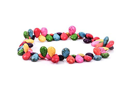 Mother Bead Of Pearl Briolette (ShopForAllYou Design Making 1 Strand Howlite Beads Puffed Teardrop BRIOLETTE 16x11mm, Mixed Colors how0107)