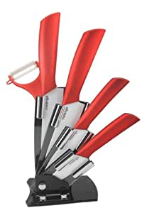 Melange 6-Piece Ceramic Knife Set with Metallic Red Handle and White Blade, Includes 6-Inch Chef's Knife, 5-Inch Santoku Knife, 4-Inch Utility Knife, 3-Inch Pairing Knife, Peeler and Acrylic Holder