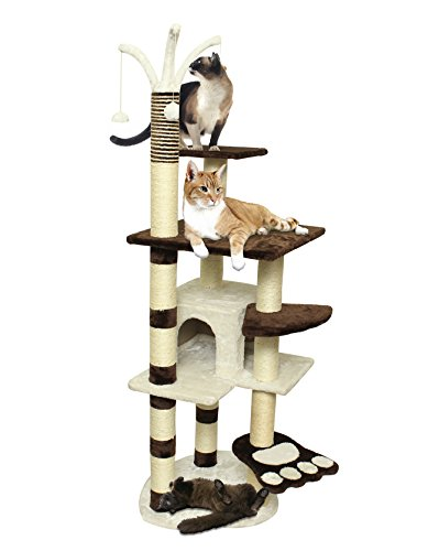 - 20x20x64 Cat Tree House w/Scartching Post Towers, Hammock Bed & Pet Toy Balls, Multi 6 Level Condo w/Stairs - Brown and White