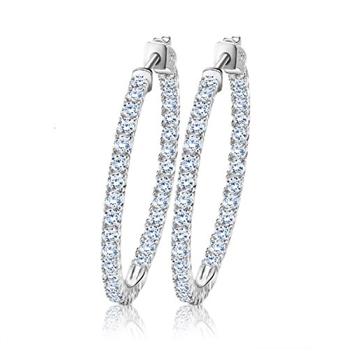 uPrimor Inside-Out Big Hoop Earrings 35mm Paved with Luxury AAA Cubic Zirconia, Platinum Plated Loops Round Rings Earrings (Diameter 1.37 inches)