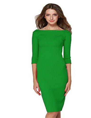 PU&PU Robe Aux femmes Moulante Street Chic,Couleur Pleine Col en V Midi Polyester , green-l , green-l