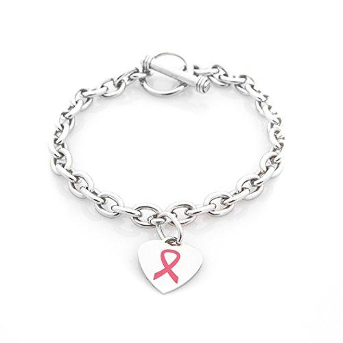 Breast Cancer Awareness Pink Bracelet w/Realtree Pink Antler/Pink Ribbon Charm Bracelet - Cancer Awareness Toggle Bracelet