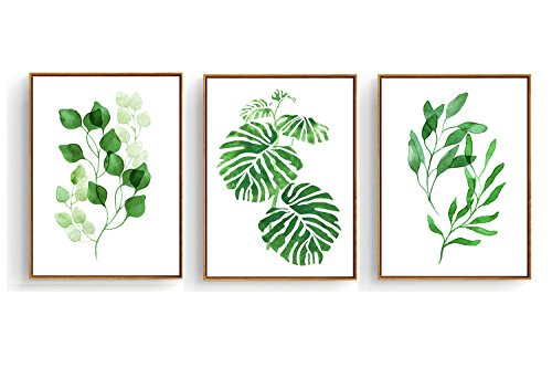(Hepix 3 PCS Canvas Wall Art Tropical Palm Wall Decor Watercolor Green Leaves Wall Paintings Framed Modern Home Decorations Ready to Hang 13 x 17 inch)