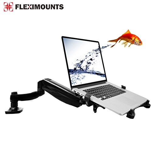 2 in 1 FLEXIMOUNTS L01 Laptop Desk Mount for 11-15.6 inch laptop with Notebook tray or 10-24 inch computer monitor with Swivel Gas Spring arm,With Clamp or Grommet Desktop Support