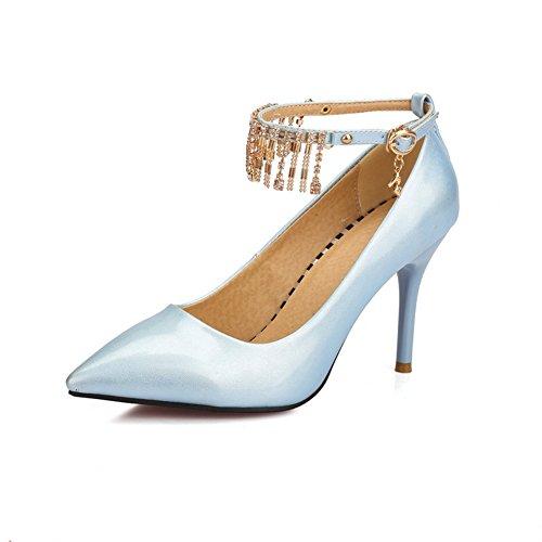 Balamasa Dames Métal Ornement Pompons Imitation Cuir Pompes-chaussures Royalblue