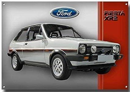 210MM x 285MM x 1MM VINTAGE SIGN DESIGNS Ford Fiesta XR2 Calidad Letrero Met/álico con Acabado Esmaltado