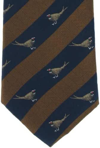 Brown Pheasant Silk Tie by Michelsons of London