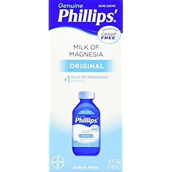 Phillips Milk of Magnesia, Laxative, Original, 4 Ounce (Pack of 6)