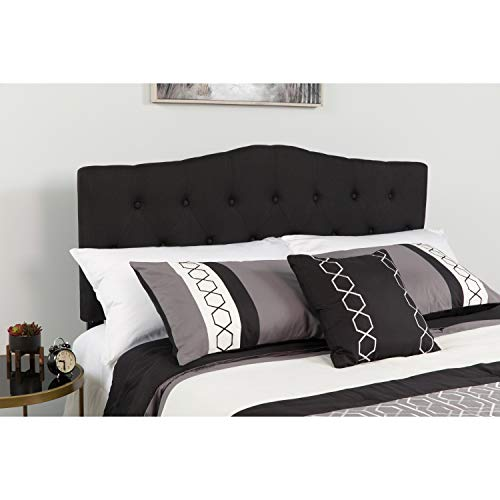 Flash Furniture Cambridge Tufted Upholstered Queen Size Headboard In Black Fabric