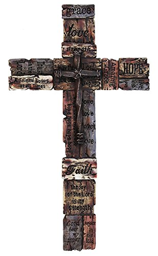 Beautiful Wall Cross with Inspirational Sayings, Realistic Wood Texture with Faux Iron Cross in Center ()