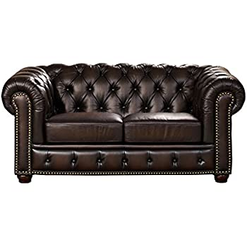 Amax Leather Albany 100% Leather Loveseat, Brown