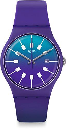 Swatch Unisex Crazy Sky 41mm Purple Silicone Band Plastic Case Swiss Quartz Blue Dial Analog Watch SUOV400