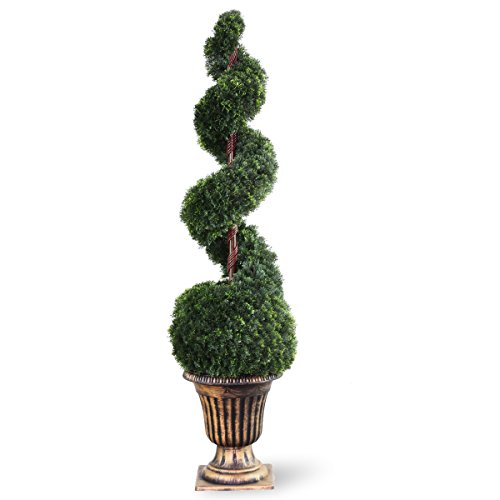 National Tree 54 Inch Cedar Spiral Tree with Ball in Decorative Urn -
