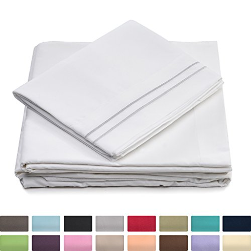 Cosy House Luxury Bed Sheets Set 4 Pc - Hypoallergenic & Wrinkle Resistant - Silky Soft 1500 Microfiber Fabric - Includes One Deep Pocket Fitted Sheet, Flat Sheet and 2 Pillowcases - Queen, White