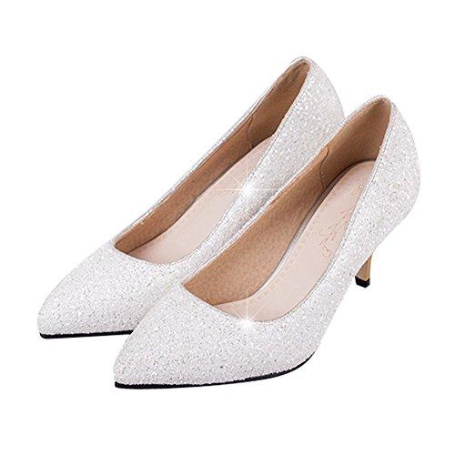 417bf712f728 YE Damen Stiletto High Heels Glitzer Spitze Pumps mit Pailleten Hochzeit  Elegant Schuhe Weiß ...