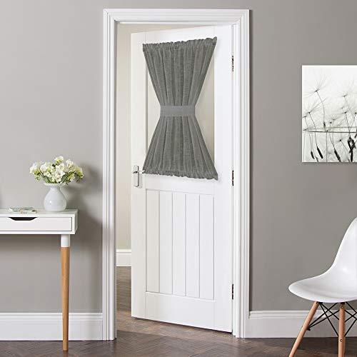 NICETOWN French Door Curtain Panel - Durable Front Door Window Curtain Panel, Light Filtering Semi Sheer Curtain for Glass Window, Tieback Included (Dark Grey, 1 Panel, 52