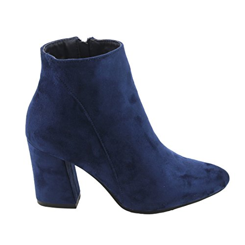 Women's BETANI Toe Bootie Chunky Navy Pointed Stacked Ankle Heel d11wgErvqn