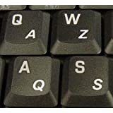 French (Azerty) Stickers for Keyboard Transparent White Letters for Any Pc Computer Laptop Desktop Keyboards
