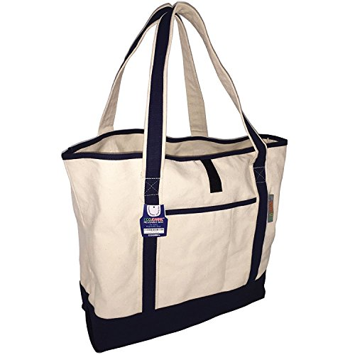 Canvas Totes Bags (EcoJeannie Super Strong Cotton Canvas Tote Bags (Set:1,2,3,4,5 Bags),1 Sheet Structure w/Double Bottom,1 Zippered and 2 Unzippered Pockets, 4 Bottle Holders,Closure Strip,Double Sided Handle (1)
