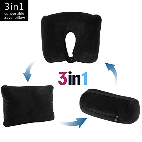 JML 3 in 1 Travel Neck Pillow - Ultra Soft Neck Support Pillow Microbeads Business Airplane Travel Home (Black)