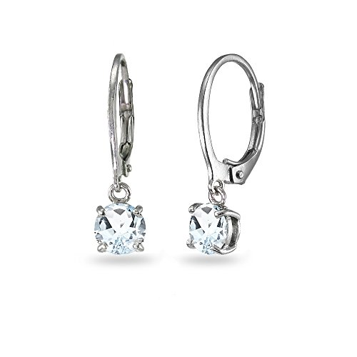 Kids Earring Aquamarine (LOVVE Sterling Silver Light Aquamarine 6mm Round Dangle Leverback Earrings)