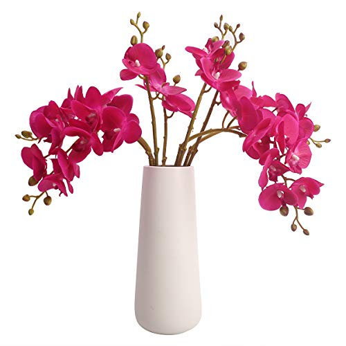 Bomarolan Artificial Butterfly Orchid Real Touch Double Branch Silk Flowers 4 Pcs for Wedding Home Party Hotel Decoration(Fuchsia) (Orchid Pink Artificial)