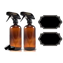 2-Pack - Amber Glass Spray Bottle Plus Labels - Large 16 oz, 480 ml Refillable Container – Eco-Friendly- for Essential Oils, Homemade Cleaning Products, Organic Beauty Treatments or Cooking Oils - Durable Black Trigger Sprayer w/ Mist and Stream Nozzle