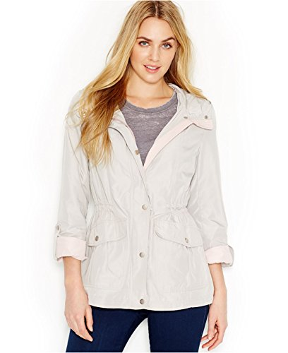 Jessica Simpson Women Tab-Sleeve Hooded Anorak Jacket, Taupe/Rose, XX-Large (Jackets Rose Taupe)