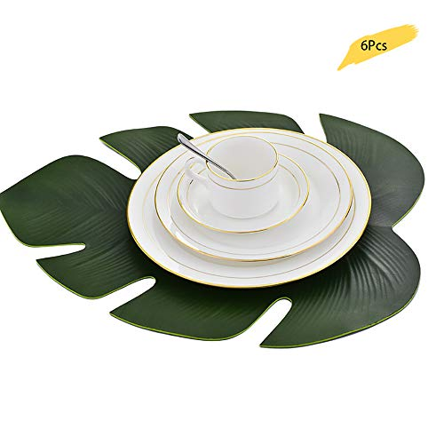 Manteles individuales antideslizantes, aislamiento termico, impermeable, EVA juego de manteles individuales para mesa de comedor, 6 piezas, Tropical Palm Leaf