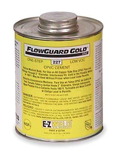 (Ez Weld Cement, Yellow, 16 oz., for CPVC Pipe and Fittings Up To 2