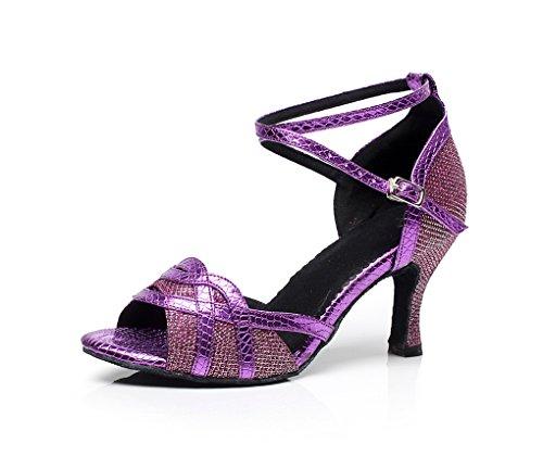 Minitoo QJ7027 de tacones de para mujer magnética con función de Latin con diamantes de zapatos de diseño de flores de llaves de Morado - morado