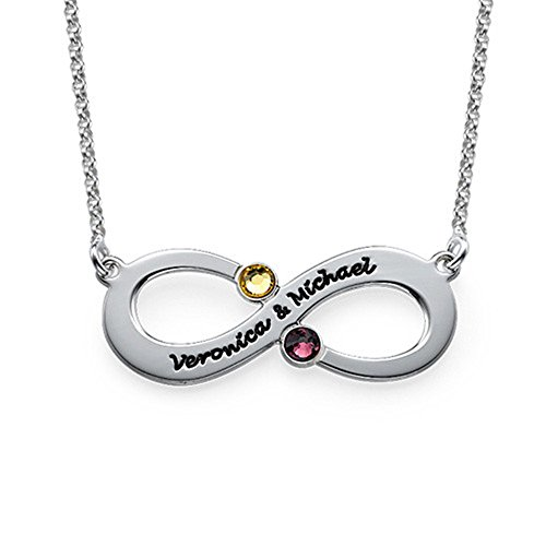 Unique Homemade Halloween Costume Ideas For Adults (Personalized Necklaces Couple's Infinity Necklace with Birthstones Christmas Gift Valentines Gift(18k rose-gold-plated-base 16