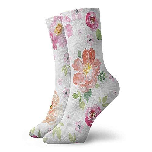 High Ankle Crew Socks Floral Garden Flowers Roses Tulips Unisex Men's & Womens Socks -