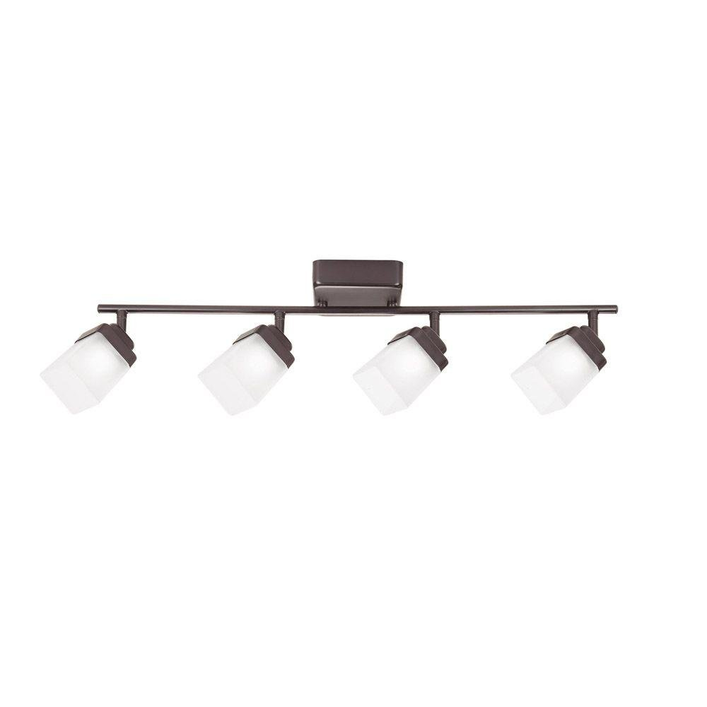 Hampton Bay 4-Light Bronze LED Dimmable Fixed Track Lighting Kit with Straight Bar Frosted Square Glass by Hampton Bay