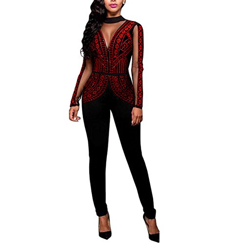 Women Sexy See Through Mesh Bodycon Clubwear Jumpsuit Rompers Overalls Wine S