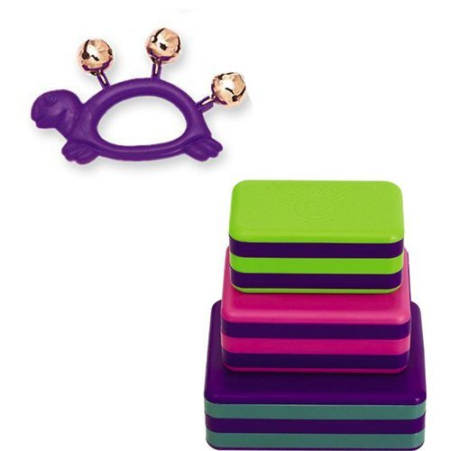 Turtle Music Purple (Homeschool Music Supplies (Pre-K / Kindergarten) - Hohner Kids Purple Turtle Animal Jingle Bells Deluxe w/LP Percussion 3 Piece Box Shakers Rhythm & Fine Motor Skills Toy)