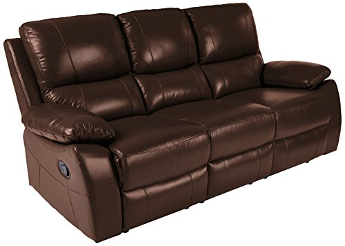 Homelegance Greeley Reclining Sofa Top Grain Leather Match, - Body Systems Cushion 3 Piece