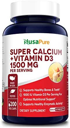 Super Calcium 1500mg with Vitamin D 1000IU 200 Veggie Powder Caps (Non-GMO & Gluten Free) Helps to Prevent Bone Loss, Osteoporosis