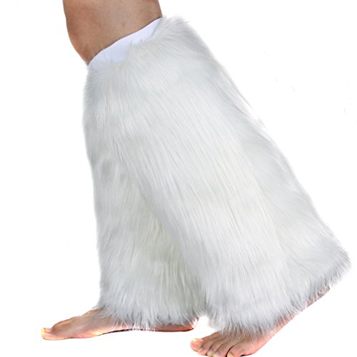Ecosco Women's Cozy Faux Fur Leg Warmer Boot Cuff Cover White 15 Inches -