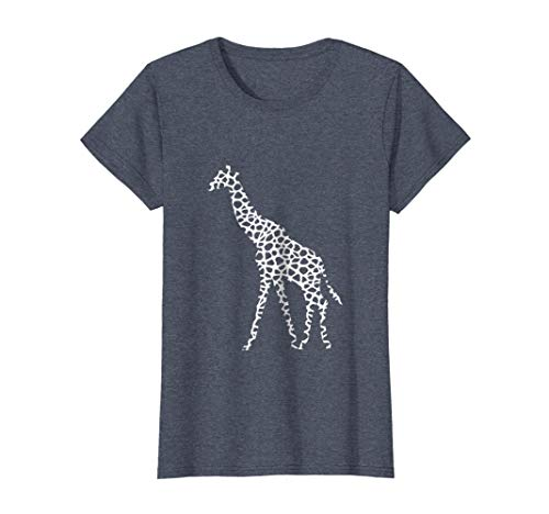 Womens Giraffe white pattern graphic animal print t-shirt XL Heather Blue ()