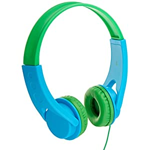 AmazonBasics Volume Limited On-Ear Headphones for Kids – Blue/Green
